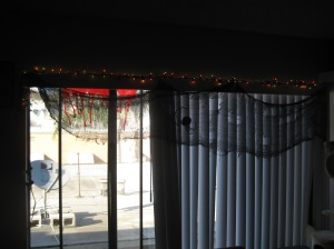 Creepy cloth, giant spider and festive holiday lights.