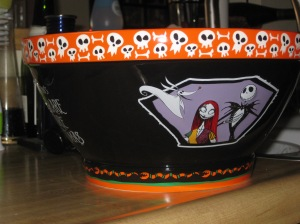 This Nightmare Before Christmas candy bowl is  an eye-catching way to give out your candy to trick or treaters.