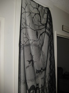 This creepy lace curtain adds a bit of gloom to the hallway.