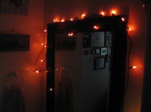 Orange lights on bathroom mirror